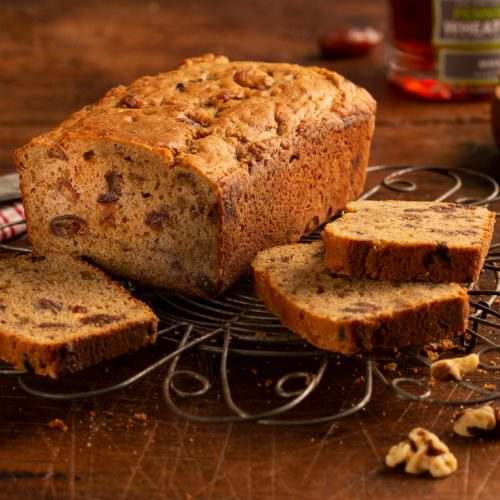 Date Nut Bread on a cooling rack
