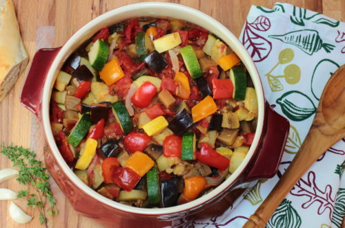 Large dish of colorful Ratatouille