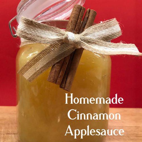 Homemade Cinnamon Applesauce in a decorative jar