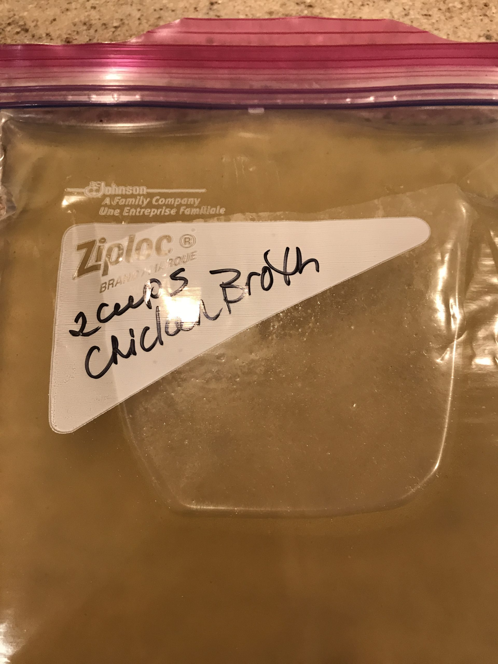 Individual bags of chicken broth