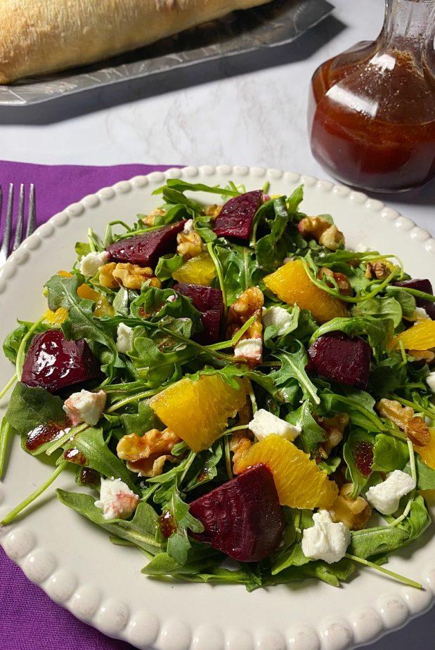 A beet salad with homemade vinaigrette dressing.