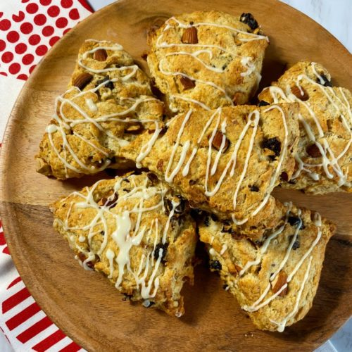 A plate of cherry almond scones