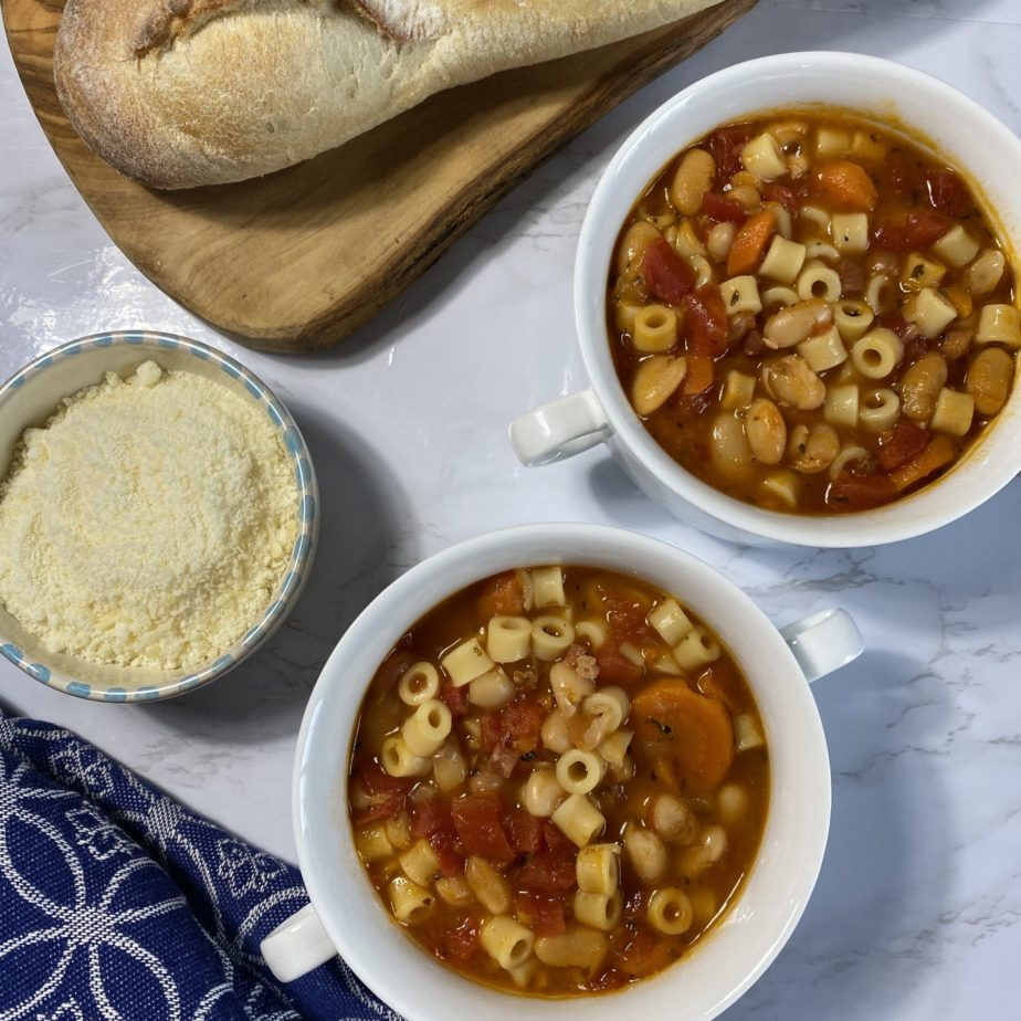 Bowls of Pasta Fagioli Soup