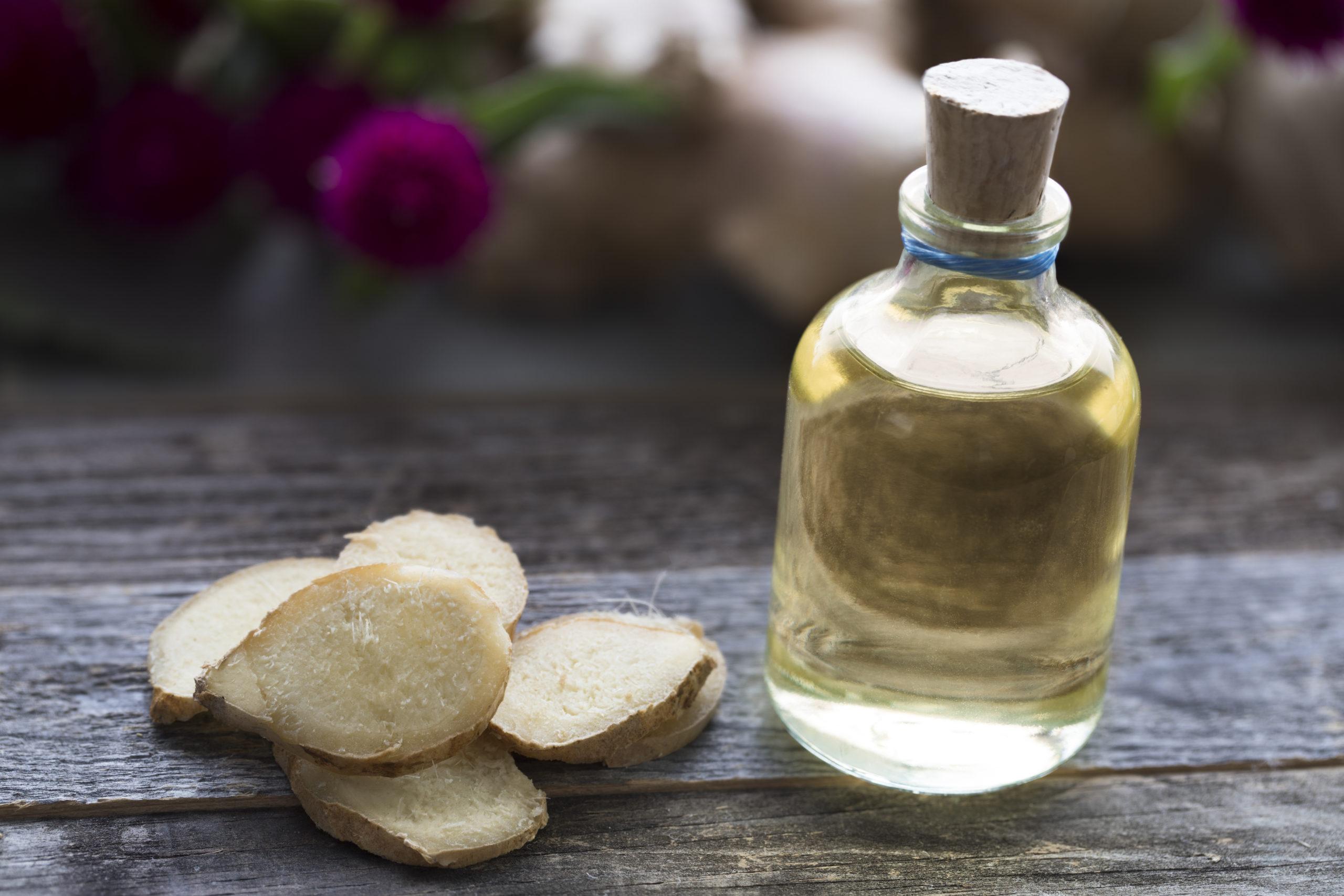 Bottle of ginger oil